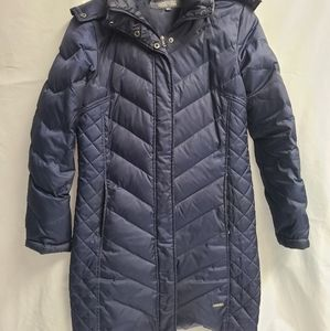 Kenneth Cole Reaction Long Knee Length Navy Blue Down Puffer Jacket Coat